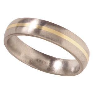 5mm Domed Titanium Band with 14kt Yellow Gold Inlay