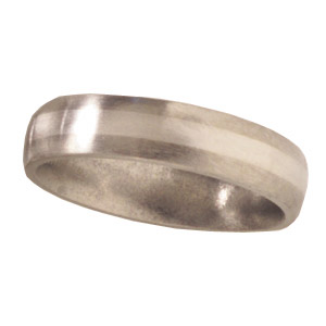 Titanium 5mm Satin Domed Wedding Bandwith Platinum Inlay