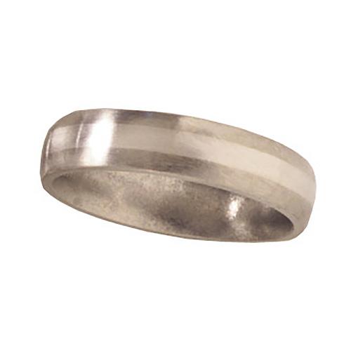 Titanium 5mm Satin Domed Wedding Bandwith Platinum Inlay