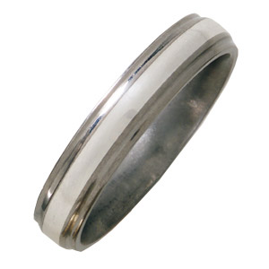 Titanium 5mm Satin Wedding Band Sterling Silver Inlay Grooved Edges