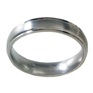 5mm Titanium Band Satin Domed with Grooved Edges