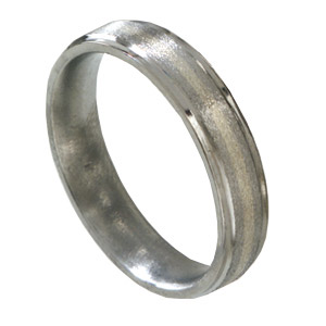 5mm Titanium Band with 14kt White Gold Inlay and Grooved Edges
