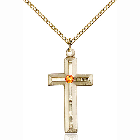 Gold Filled 1 1/8in Beveled Cross Pendant with 3mm Topaz Bead & 18in Chain