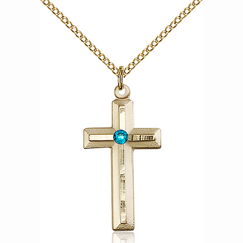 Gold Filled 1 1/8in Beveled Cross Pendant with 3mm Zircon Bead & 18in Chain