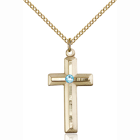 Gold Filled 1 1/8in Beveled Cross Pendant Aquamarine Bead & 18in Chain