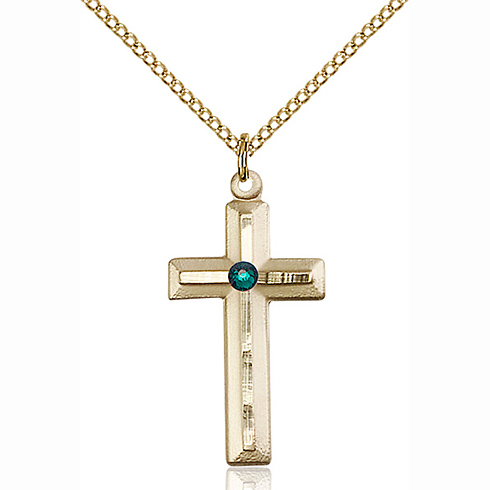 Gold Filled 1 1/8in Beveled Cross Pendant with 3mm Emerald Bead & 18in Chain