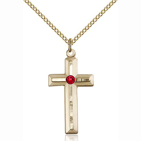 Gold Filled 1 1/8in Beveled Cross Pendant with 3mm Ruby Bead & 18in Chain