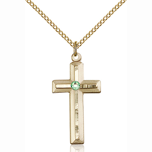 Gold Filled 1 1/8in Beveled Cross Pendant with 3mm Peridot Bead & 18in Chain