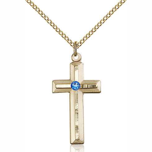 Gold Filled 1 1/8in Beveled Cross Pendant with 3mm Sapphire Bead & 18in Chain