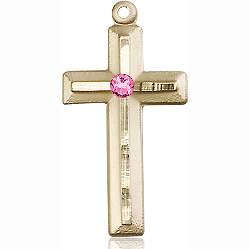 14kt Yellow Gold 1 1/8in Beveled Cross with 3mm Rose Bead