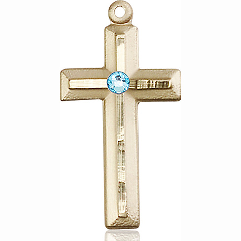 14kt Yellow Gold 1 1/8in Beveled Cross with 3mm Aqua Bead