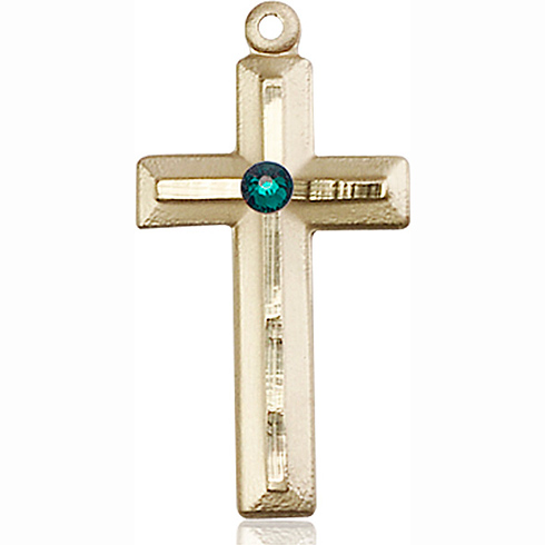 14kt Yellow Gold 1 1/8in Beveled Cross with 3mm Emerald Bead