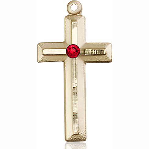 14kt Yellow Gold 1 1/8in Beveled Cross with 3mm Ruby Bead