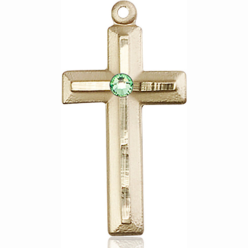 14kt Yellow Gold 1 1/8in Beveled Cross with 3mm Peridot Bead