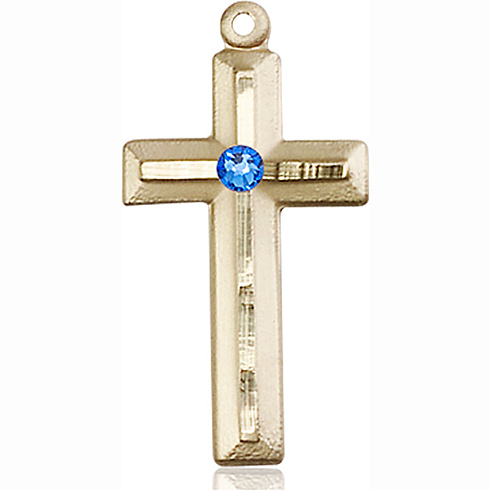 14kt Yellow Gold 1 1/8in Beveled Cross with 3mm Sapphire Bead