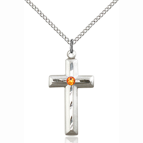 Sterling Silver 1 1/8in Beveled Cross Pendant Topaz Bead & 18in Chain