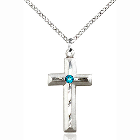 Sterling Silver 1 1/8in Beveled Cross Pendant with 3mm Zircon Bead & 18in Chain
