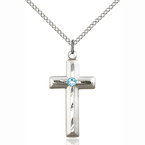 Sterling Silver 1 1/8in Beveled Cross Pendant with 3mm Aqua Bead & 18in Chain