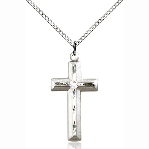 Sterling Silver 1 1/8in Beveled Cross Pendant with 3mm Crystal Bead & 18in Chain