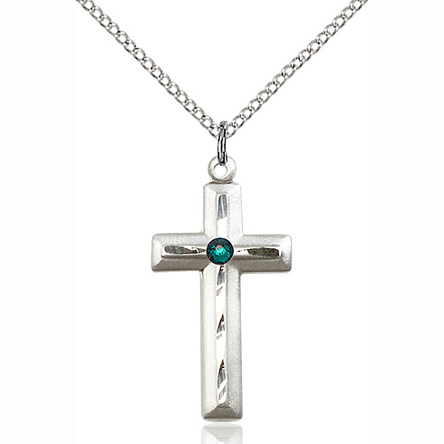 Sterling Silver 1 1/8in Beveled Cross Pendant with 3mm Emerald Bead & 18in Chain