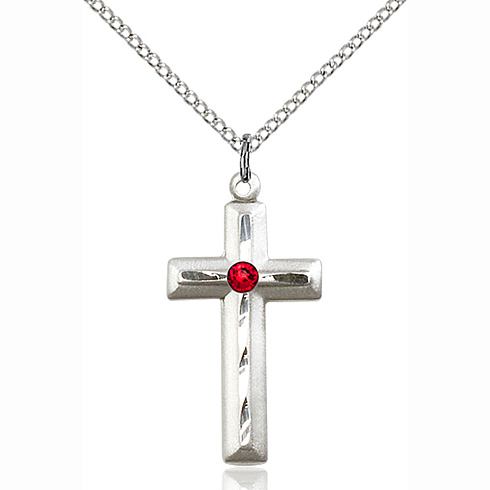 Sterling Silver 1 1/8in Beveled Cross Pendant Ruby Bead & 18in Chain