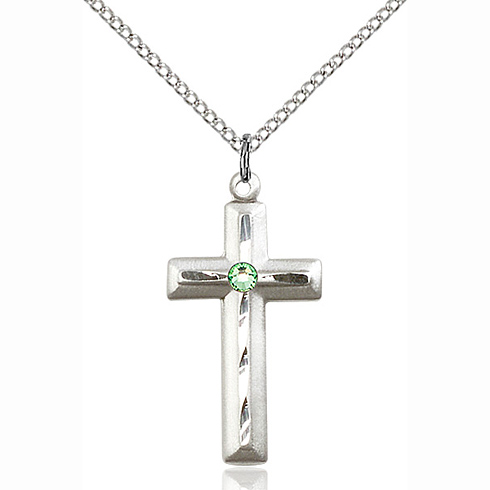 Sterling Silver 1 1/8in Beveled Cross Pendant with 3mm Peridot Bead & 18in Chain