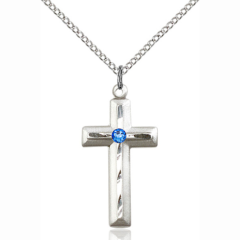 Sterling Silver 1 1/8in Beveled Cross Pendant with 3mm Sapphire Bead & 18in Chain