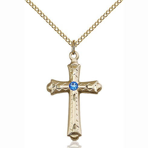 Gold Filled 1 1/8in Fancy Budded Cross Pendant with 3mm Sapphire Bead & 18in Chain