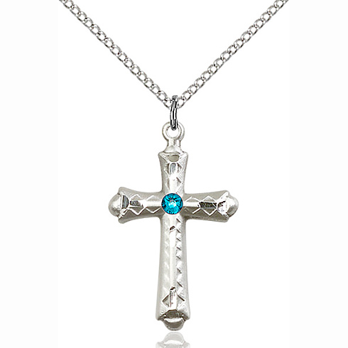 Sterling Silver 1 1/8in Fancy Budded Cross Pendant with 3mm Zircon Bead & 18in Chain