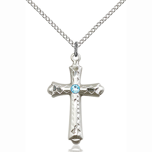 Sterling Silver 1 1/8in Fancy Budded Cross Pendant with 3mm Aqua Bead & 18in Chain