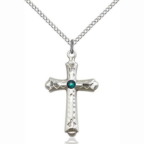 Sterling Silver 1 1/8in Fancy Budded Cross Pendant with 3mm Emerald Bead & 18in Chain