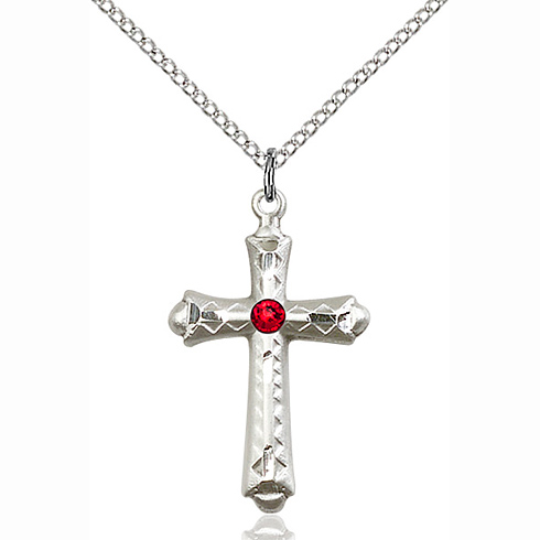 Sterling Silver 1 1/8in Fancy Budded Cross Pendant with 3mm Ruby Bead & 18in Chain