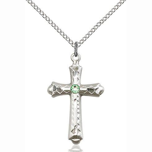 Sterling Silver 1 1/8in Fancy Budded Cross Pendant with 3mm Peridot Bead & 18in Chain