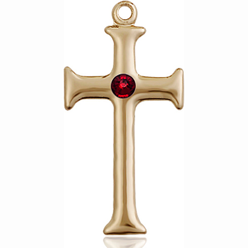 14kt Yellow Gold 1in Crusader Cross with 3mm Garnet Bead