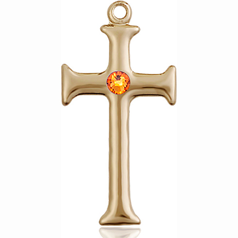 14kt Yellow Gold 1in Crusader Cross with 3mm Topaz Bead