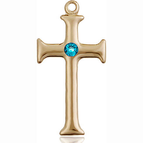 14kt Yellow Gold 1in Crusader Cross with 3mm Zircon Bead