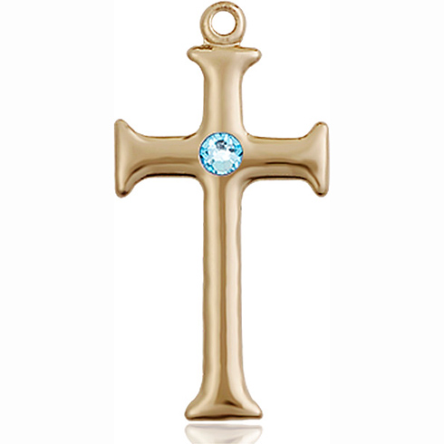 14kt Yellow Gold 1in Crusader Cross with 3mm Aqua Bead