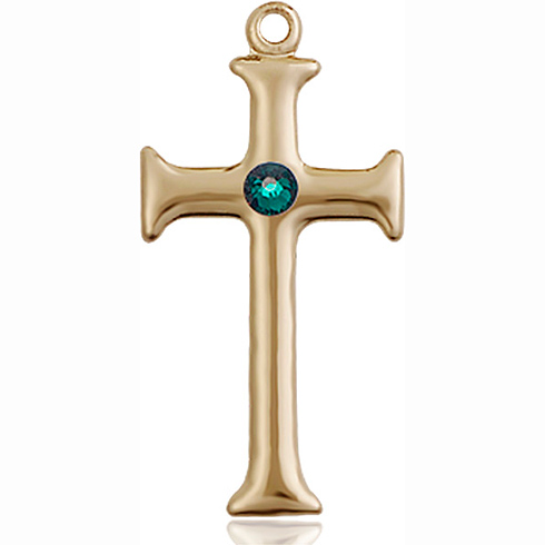 14kt Yellow Gold 1in Crusader Cross with 3mm Emerald Bead