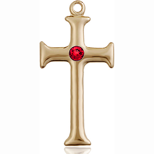 14kt Yellow Gold 1in Crusader Cross with 3mm Ruby Bead