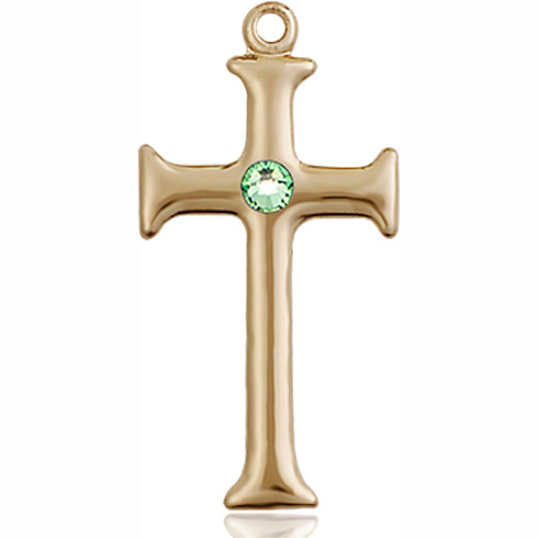 14kt Yellow Gold 1in Crusader Cross with 3mm Peridot Bead