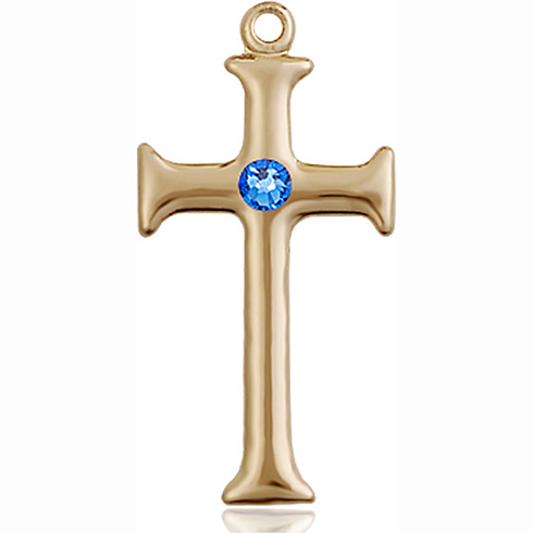 14kt Yellow Gold 1in Crusader Cross with 3mm Sapphire Bead