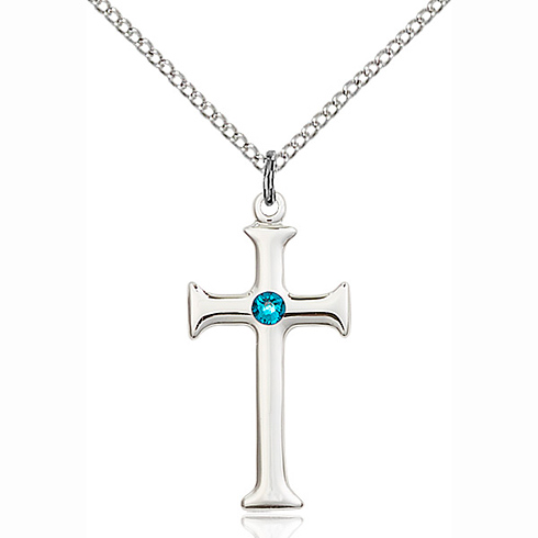 Sterling Silver 1in Crusader Cross Pendant with 3mm Zircon Bead & 18in Chain
