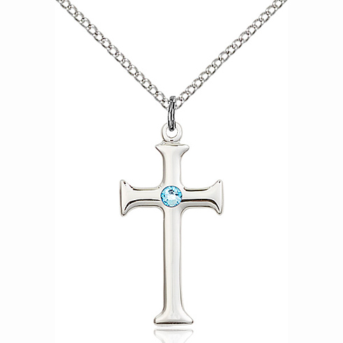 Sterling Silver 1in Crusader Cross Pendant with 3mm Aqua Bead & 18in Chain