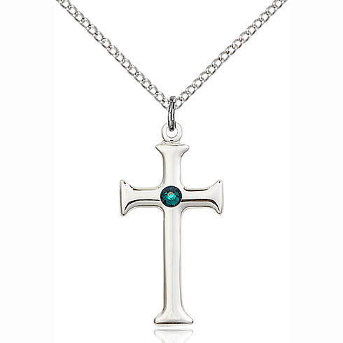 Sterling Silver 1in Crusader Cross Pendant with 3mm Emerald Bead & 18in Chain