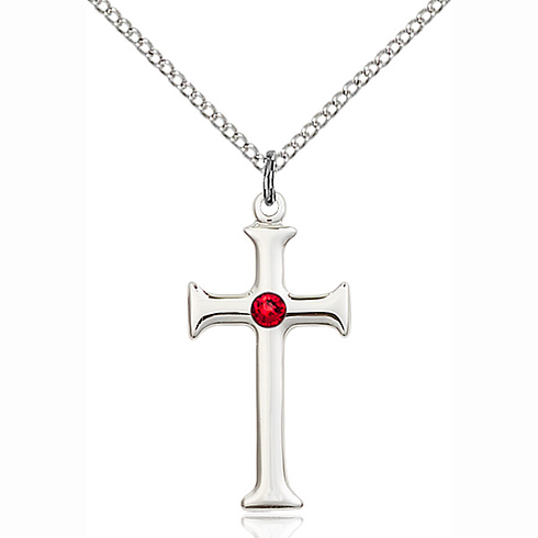 Sterling Silver 1in Crusader Cross Pendant with 3mm Ruby Bead & 18in Chain