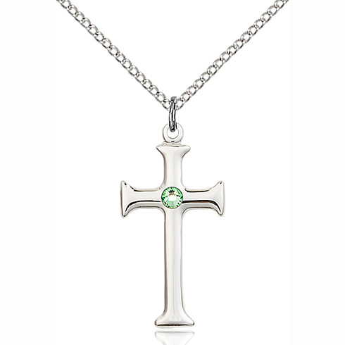Sterling Silver 1in Crusader Cross Pendant Peridot Bead & 18in Chain
