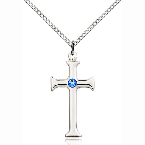 Sterling Silver 1in Crusader Cross Pendant with 3mm Sapphire Bead & 18in Chain