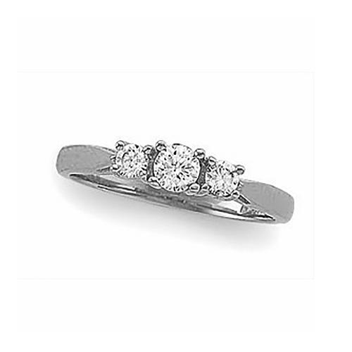 1/2 CT TW Platinum Three Stone Ring