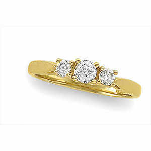 14kt Yellow Gold 1/2 ct tw Diamond Three Stone Ring