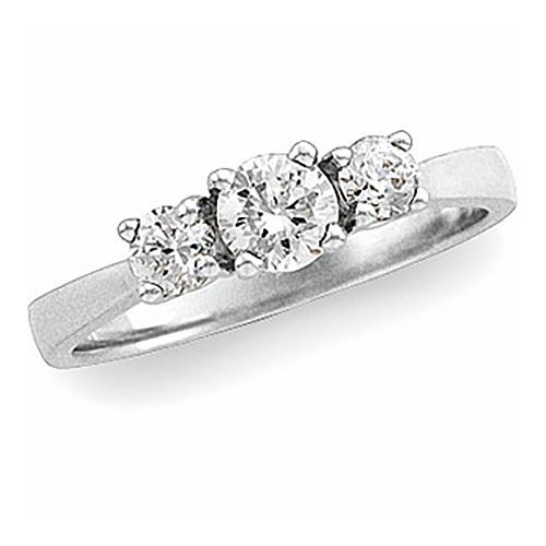 14kt White Gold 5/8 ct tw Diamond Three Stone Ring Size 6